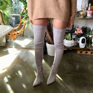 Brand new ASOS Thigh High Gray Suede Heel Boots